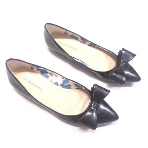 BCBGeneration Patent Leather Bow Pointed Toe Flats